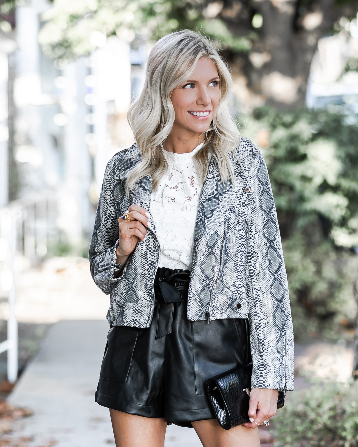 gray snake print jacket and lace top The Glamorous Gal