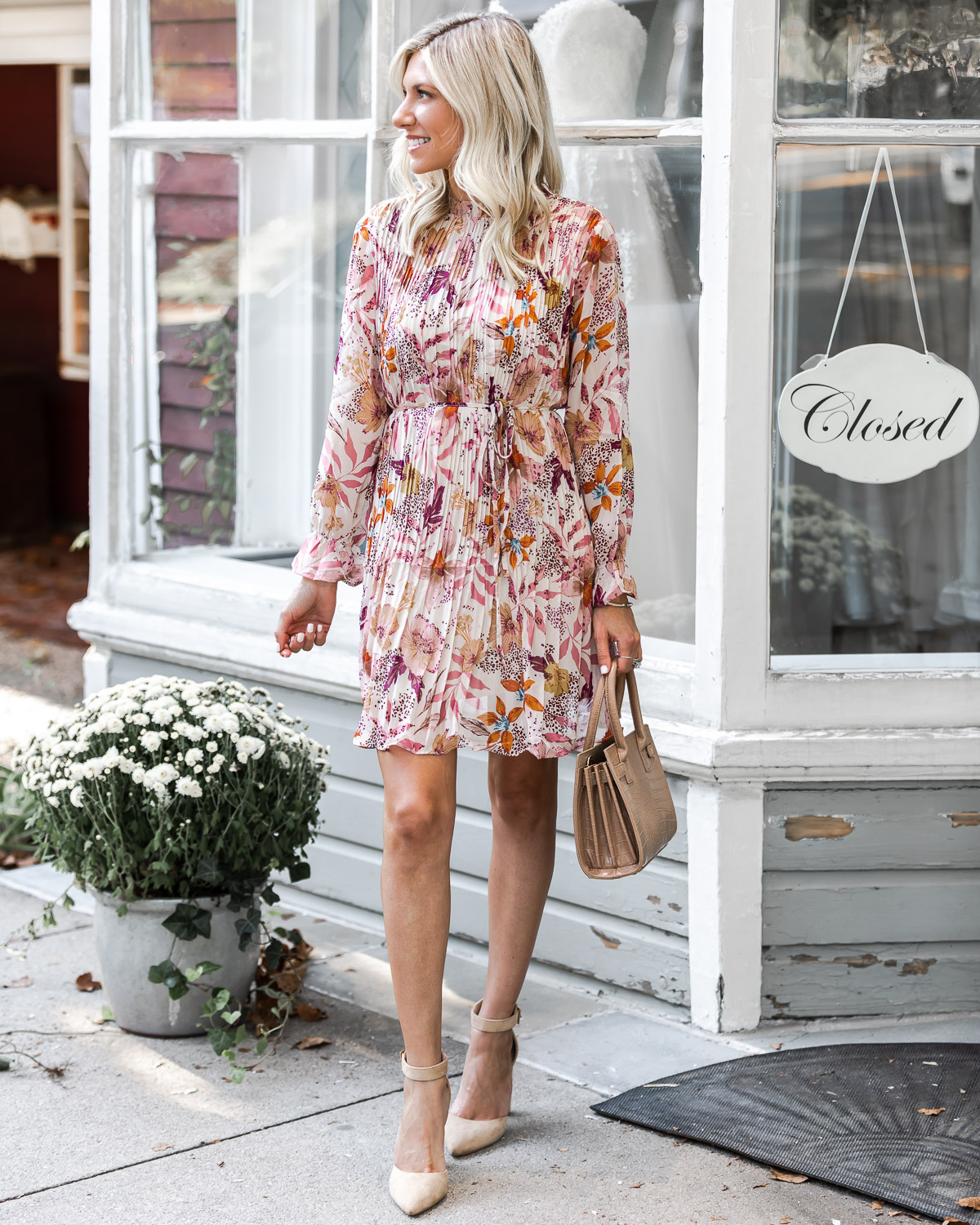 long sleeve pleated dress for fall The Glamorous Gal