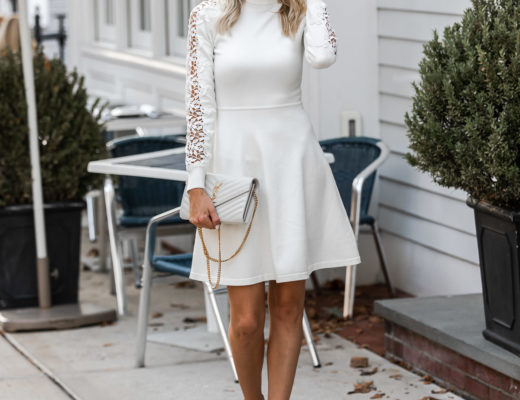 long sleeve white dress with turtleneck from eliza j The Glamorous Gal