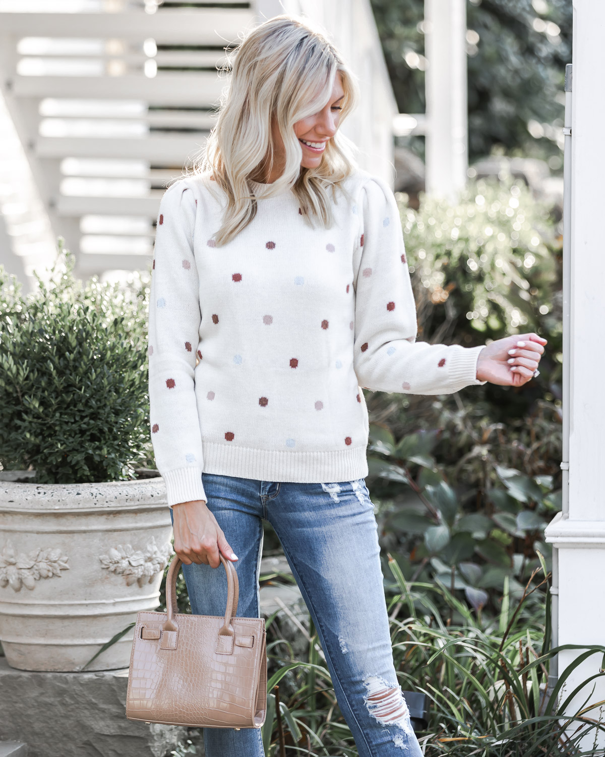 neutral polka dot sweater The Glamorous Gal
