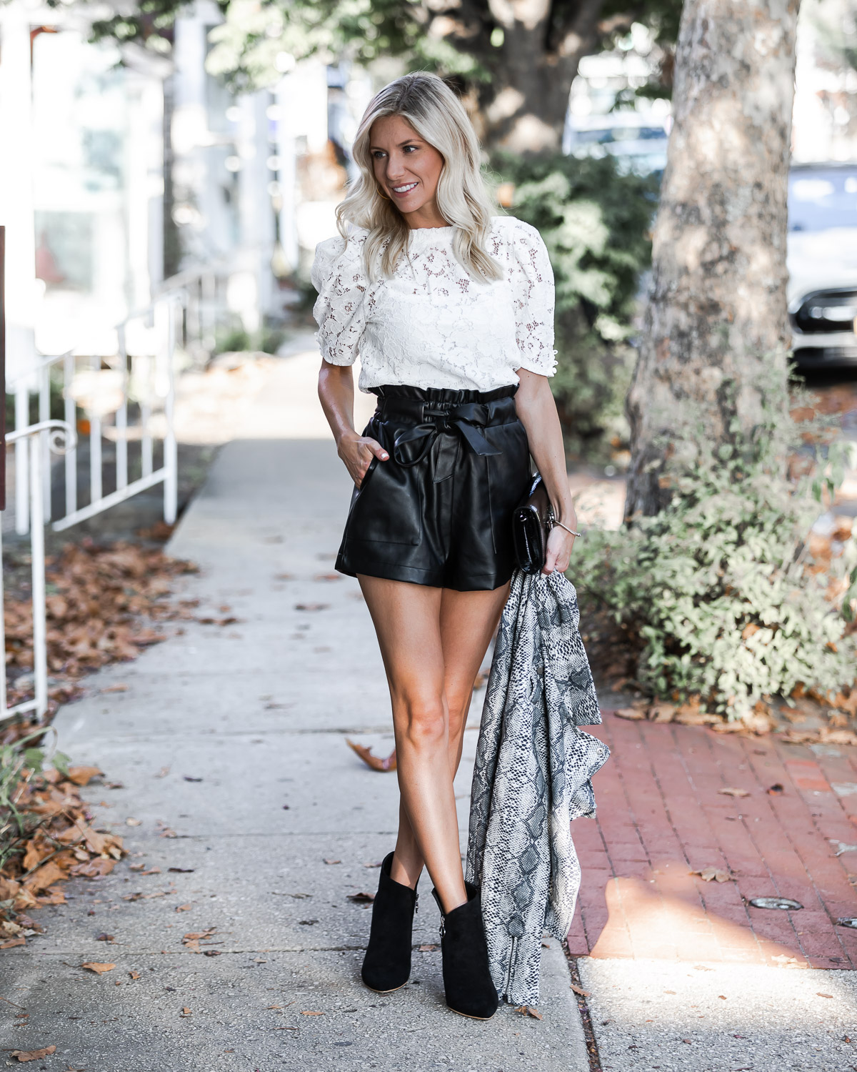 pleather paper bag shorts for fall The Glamorous Gal
