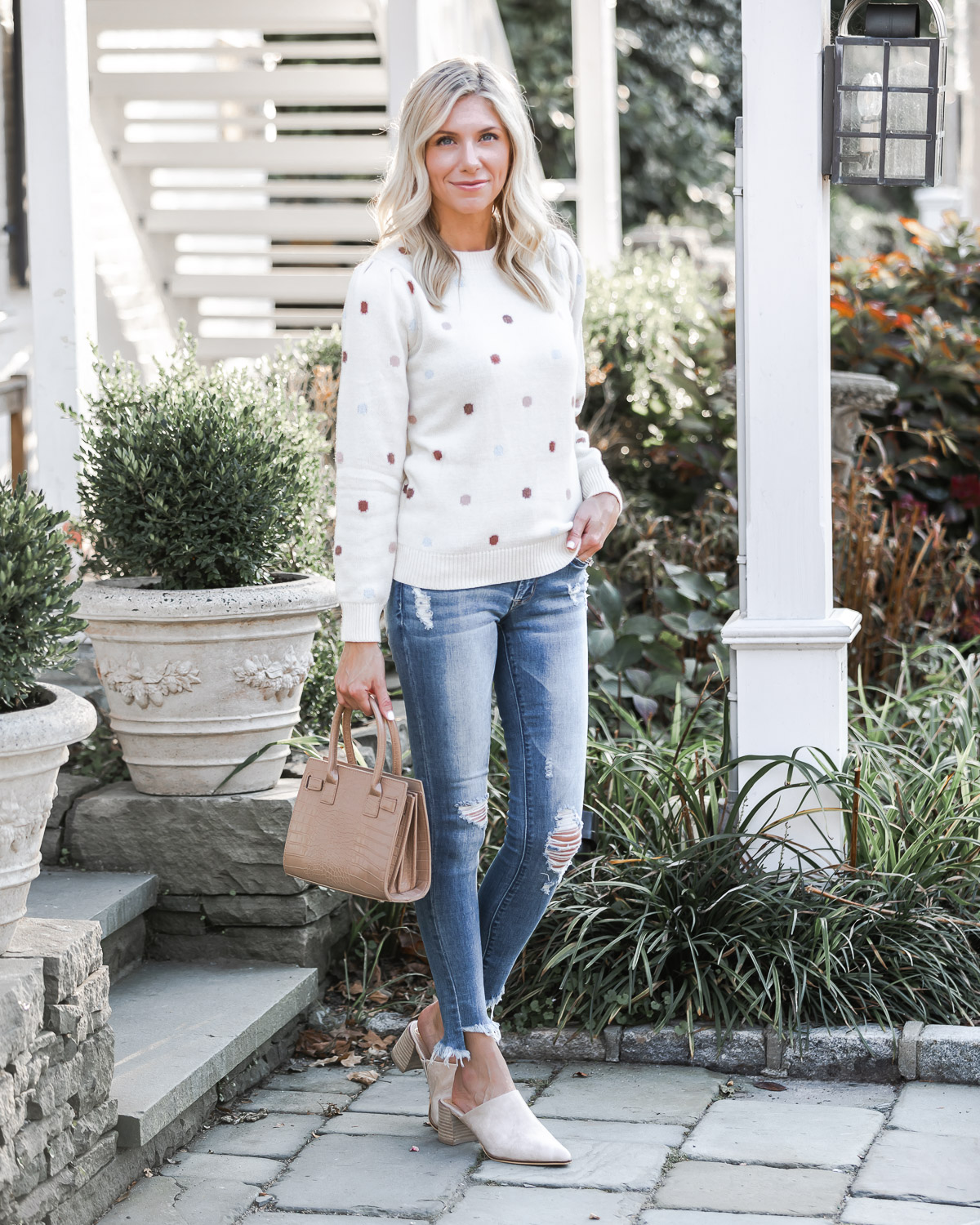 polka dot casual fall outfit The Glamorous Gal