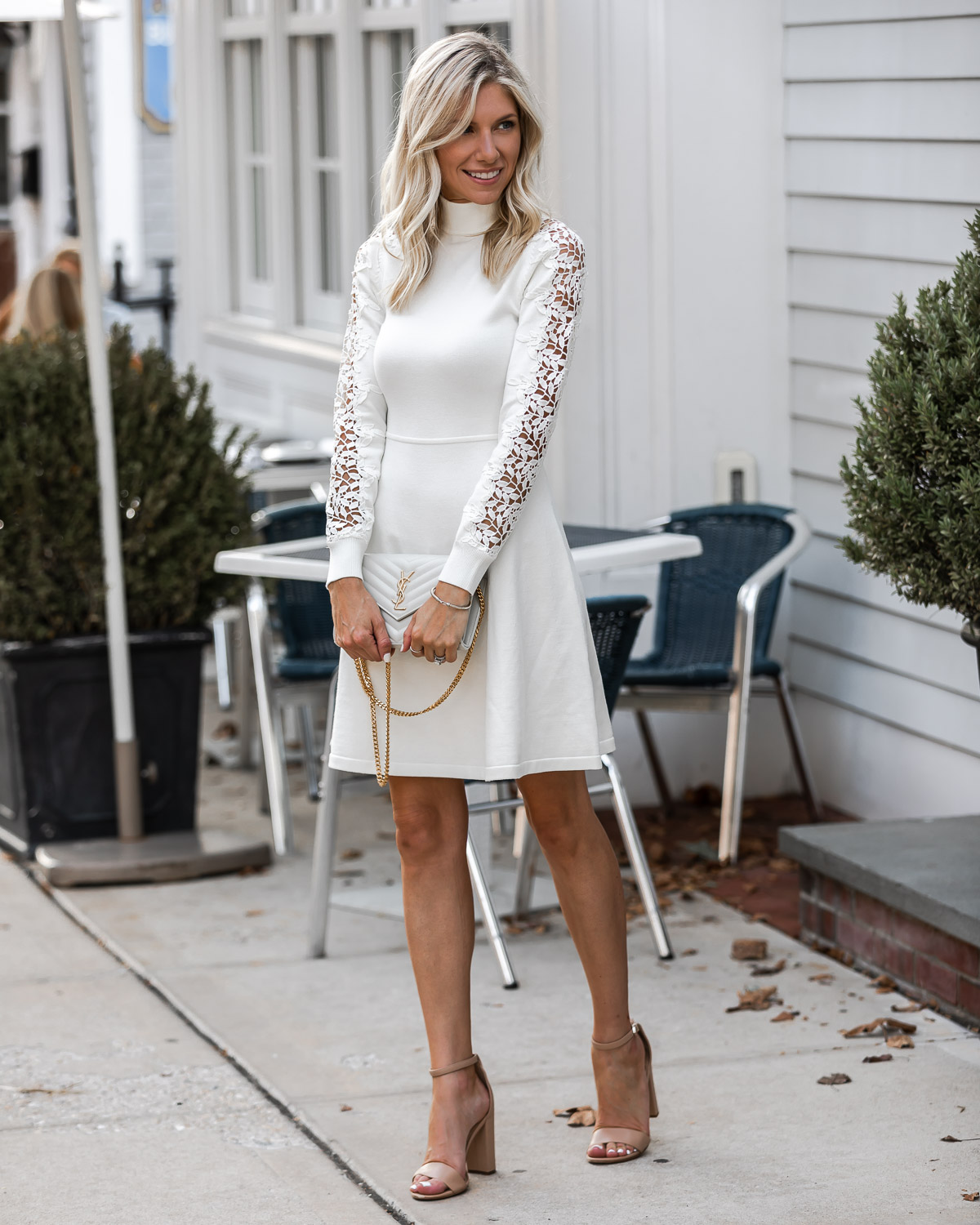 sophisticated fall dress in white The Glamorous Gal