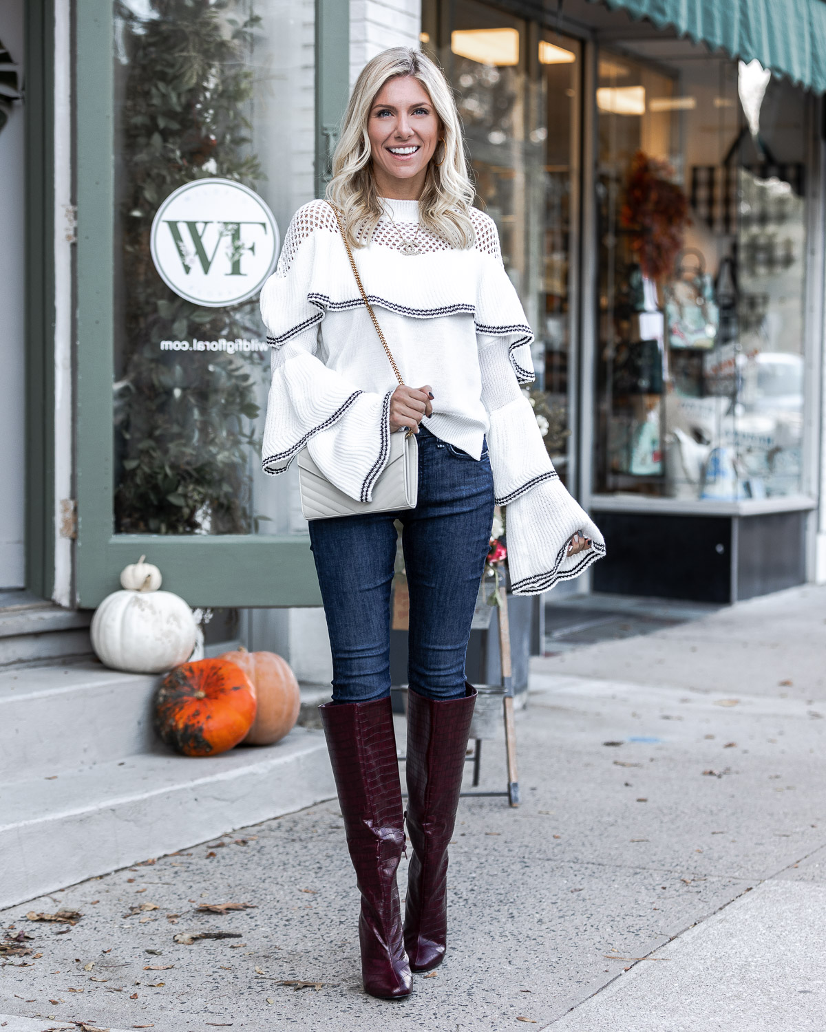 the perfect fall outfit with snake embossed boots The Glamorous Gal