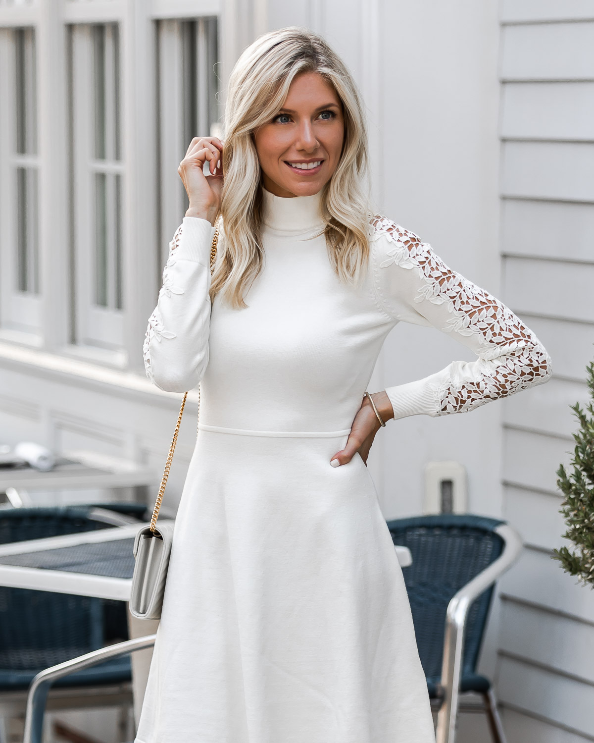 white on white fall dress The Glamorous Gal