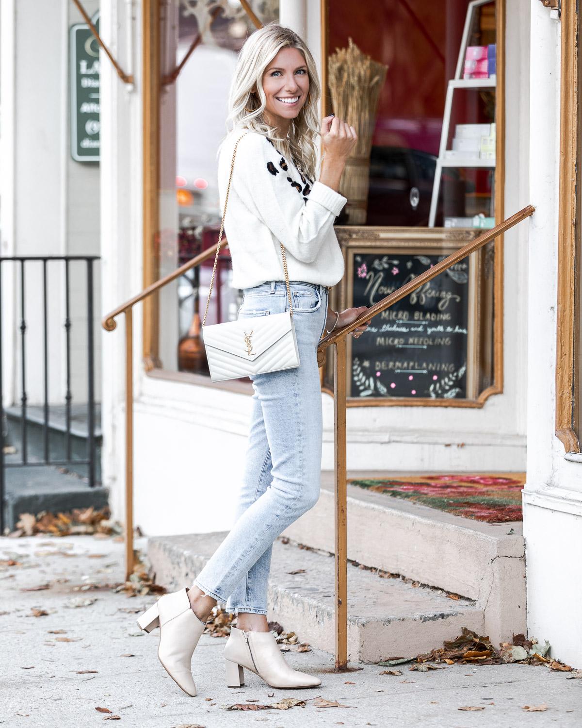 white ysl bag and white aerosole booties The Glamorous Gal