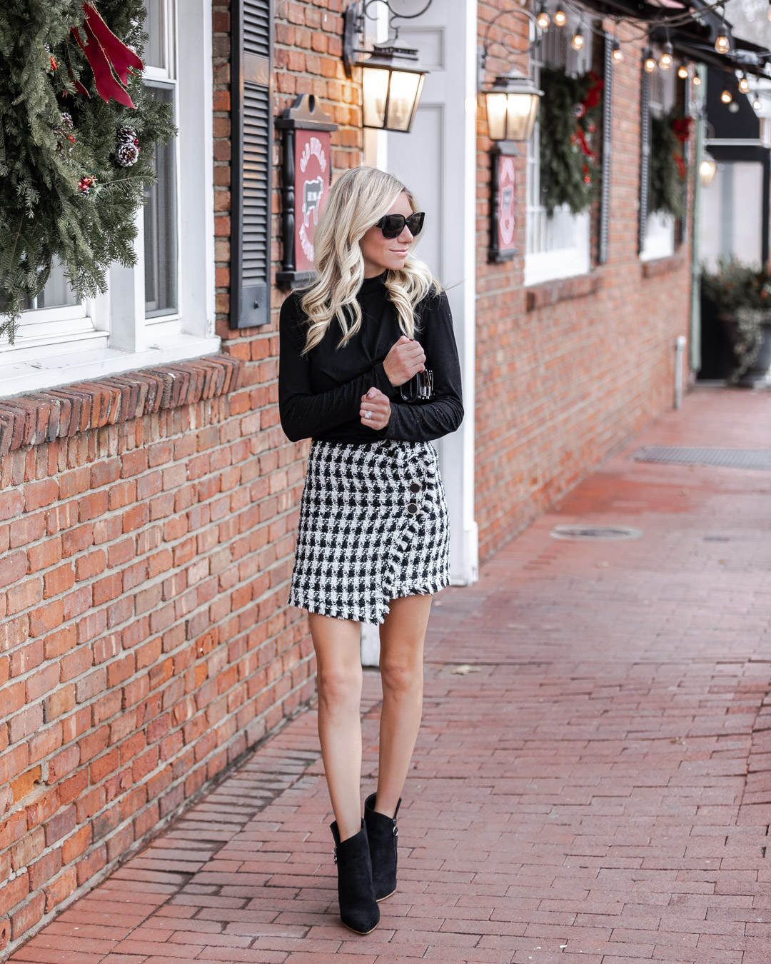 black and white tweed skirt from haverdash The Glamorous Gal