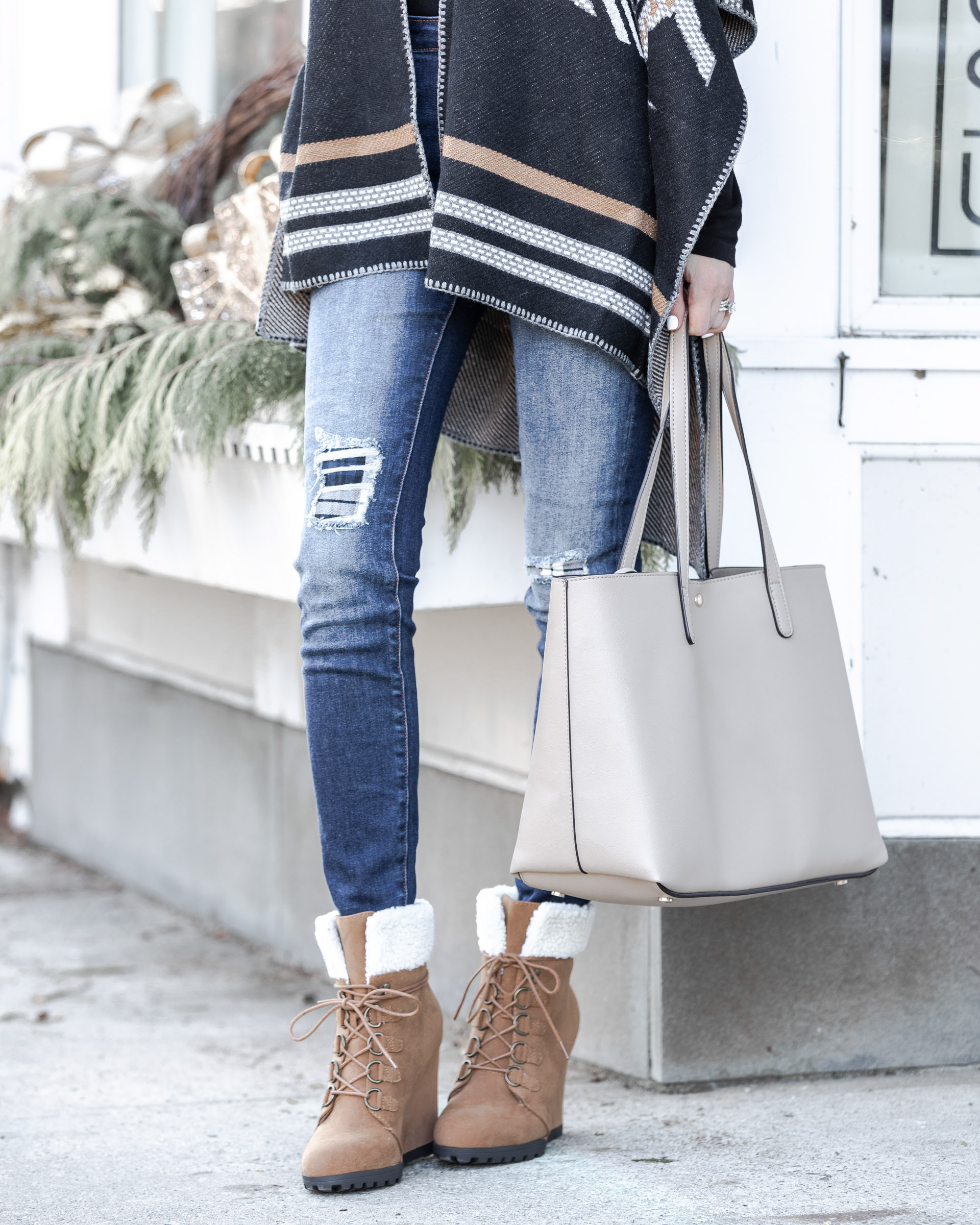 ripped jeans with plaid patch from driftwood the glamorous gal