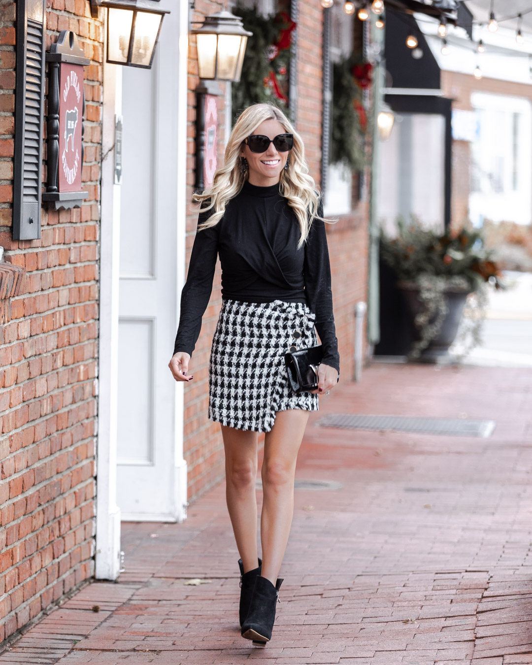 winter houndstooth skirt The Glamorous Gal