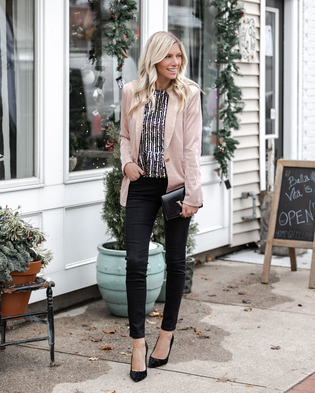 sequin vici top and sparkle blazer The Glamorous Gal