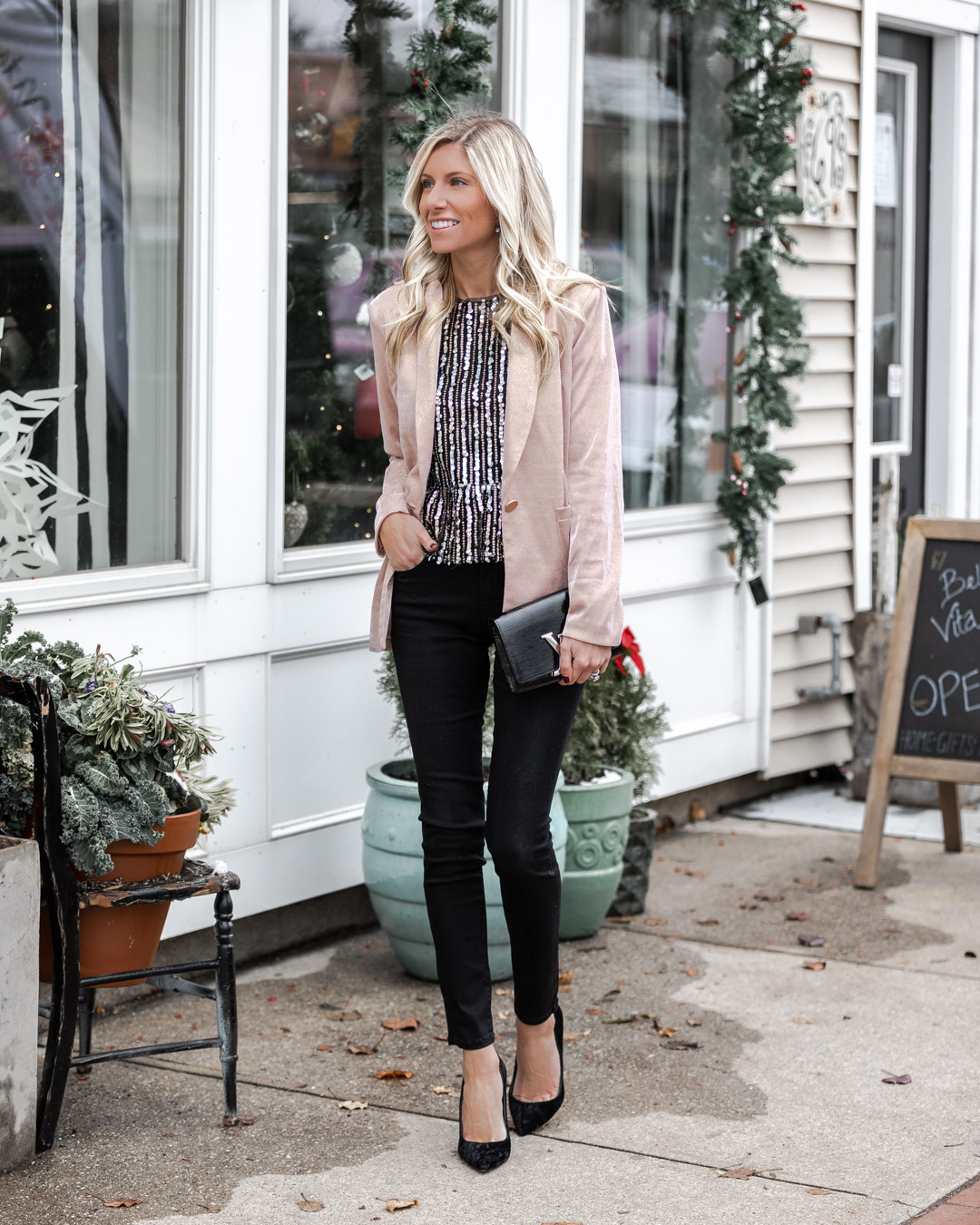 sparkle blazer and casual black jeans The Glamorous Gal