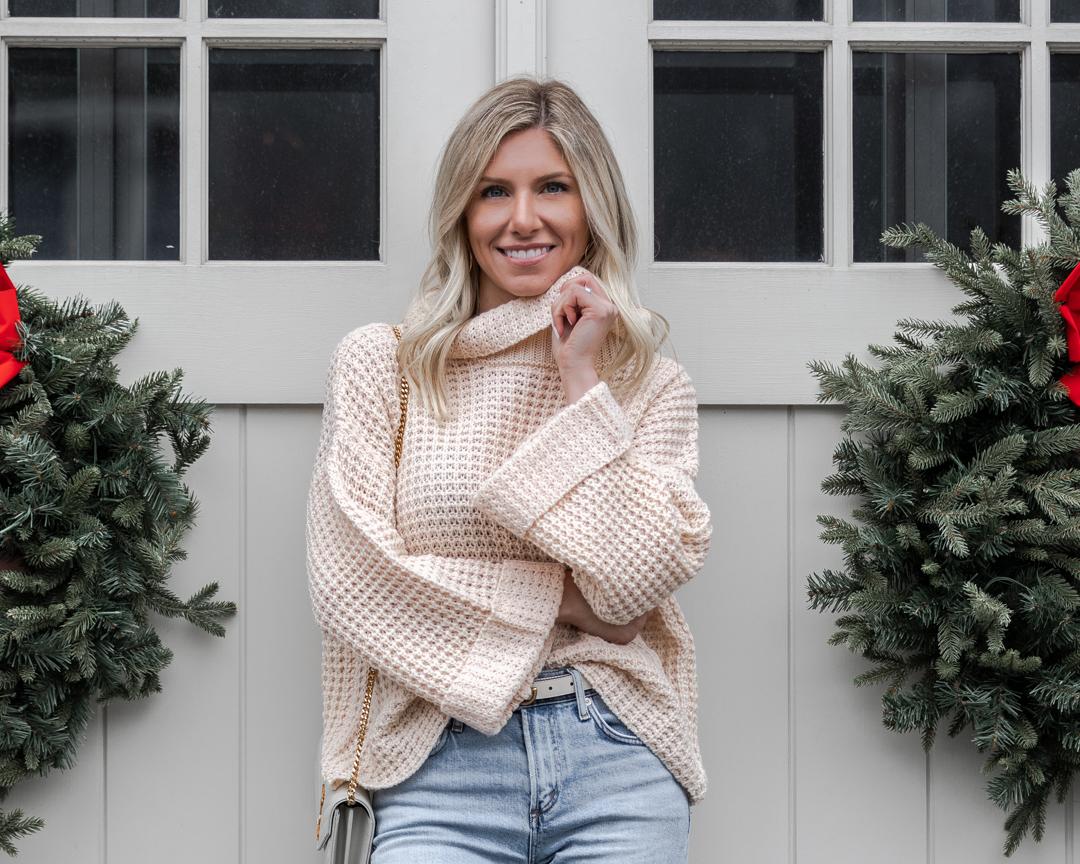 cozy nude waffle sweater The Glamorous Gal