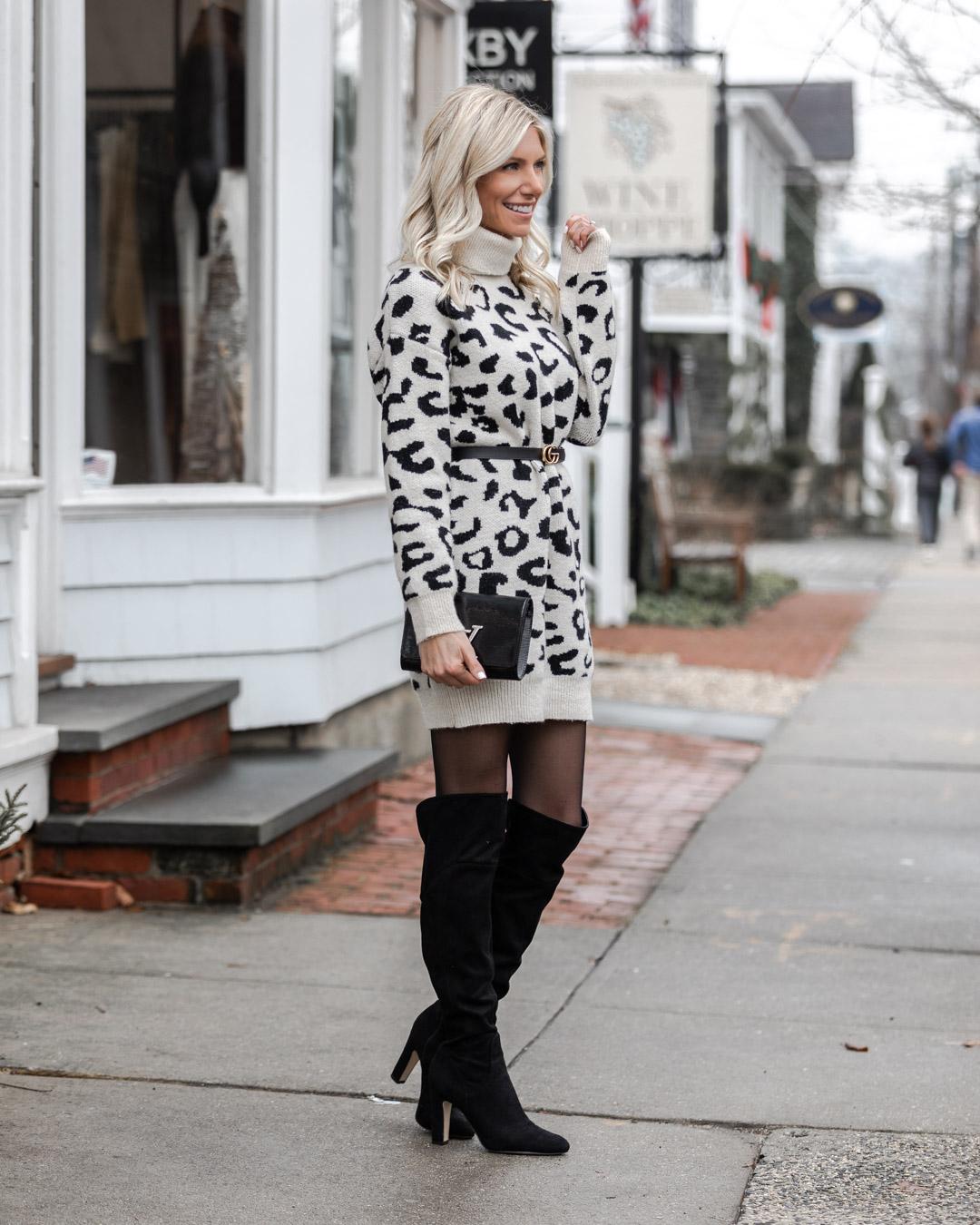 black and white leopard print dress The Glamorous Gal