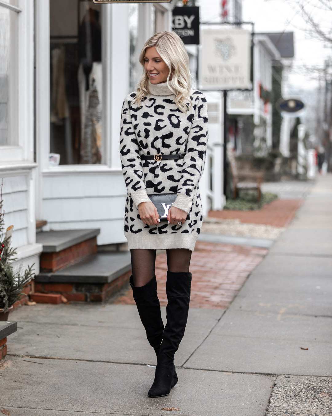 black and white leopard sweater dress The Glamorous Gal