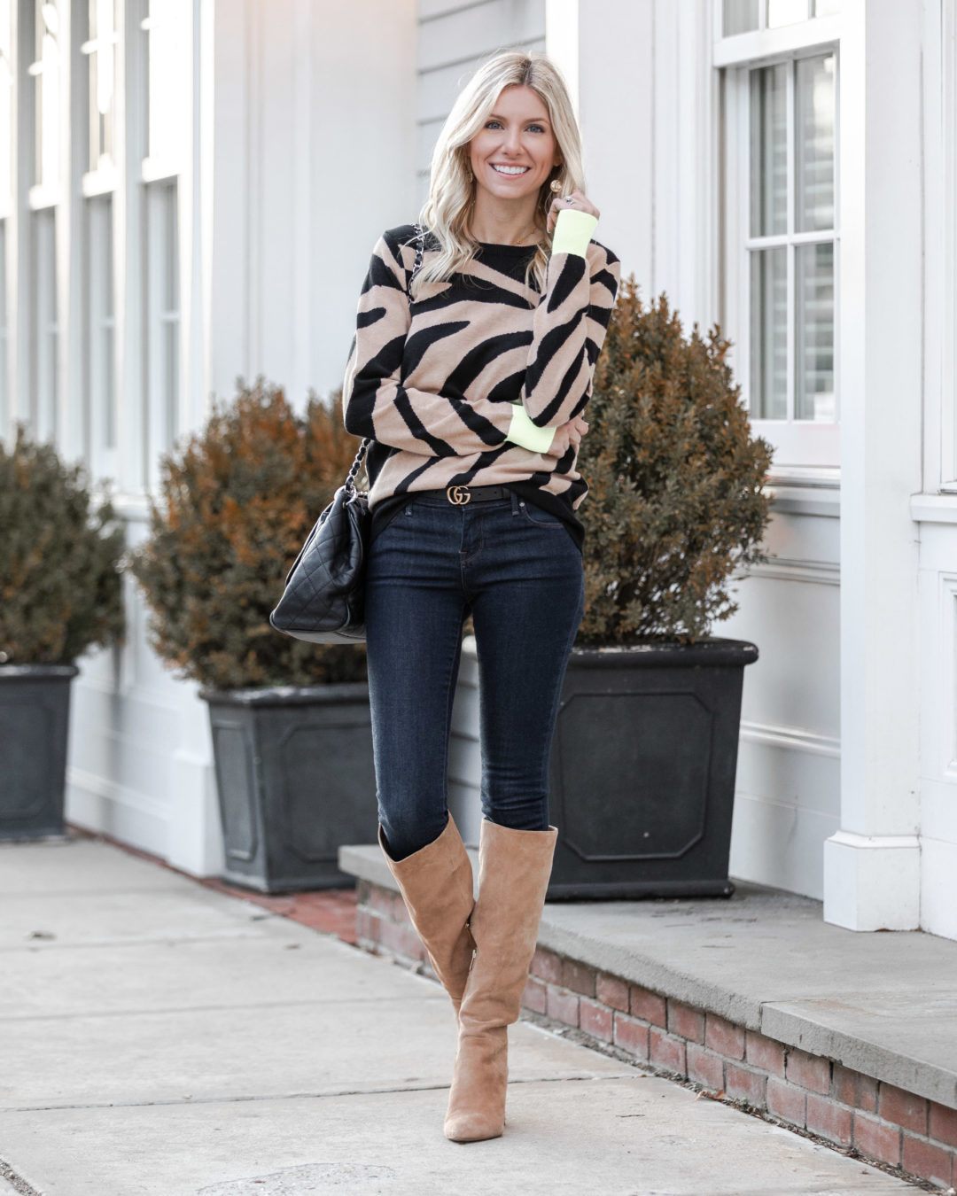 casual-zebra-outfit-with-neon-green-sleeves-the-glamorous-gal