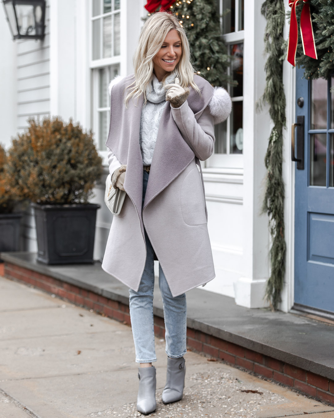 cozy gray jacket with fur liner The Glamorous Gal
