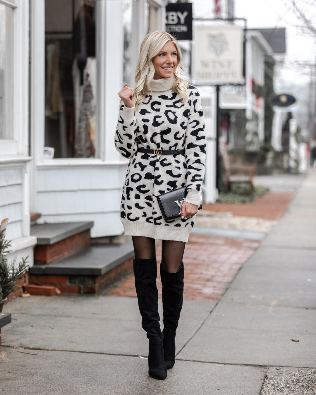 cozy leopard sweater dress The Glamorous Gal
