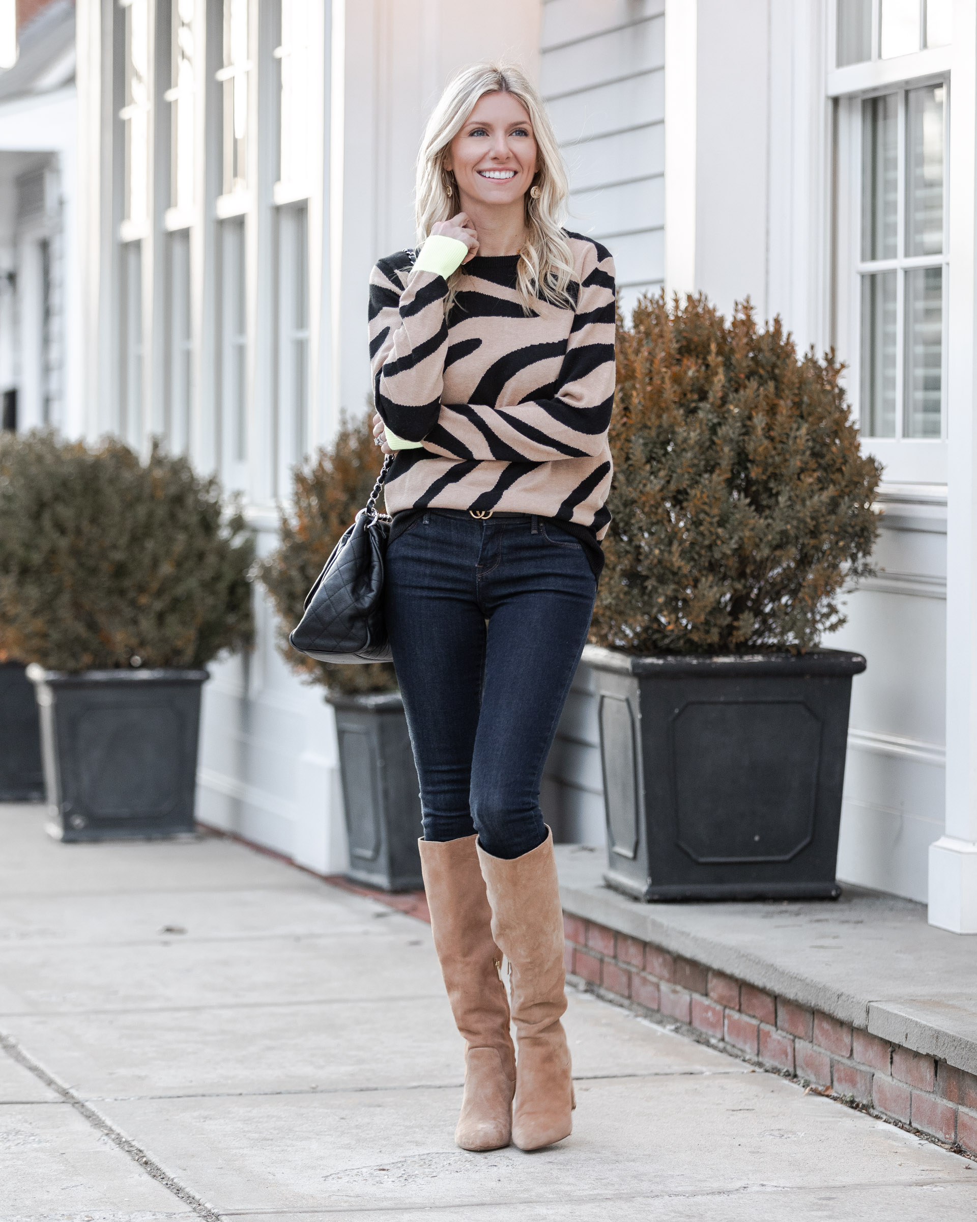 cozy-zebra-sweater-and-suede-boots-the-glamorous-gal