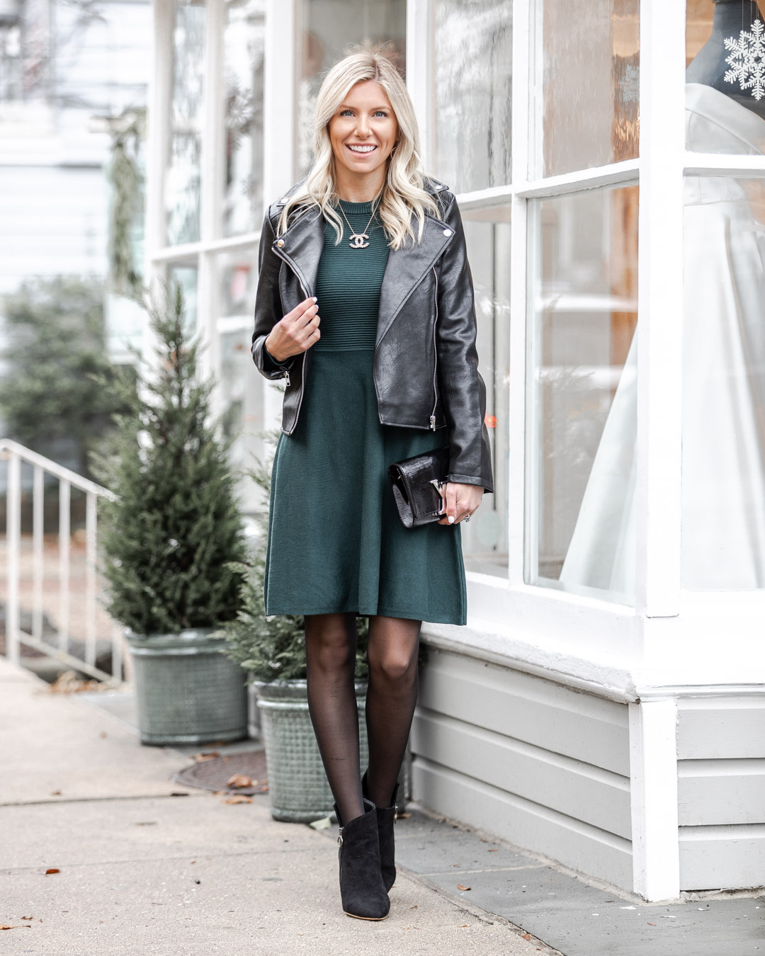 green dress and lether jacket The Glamorous Gal