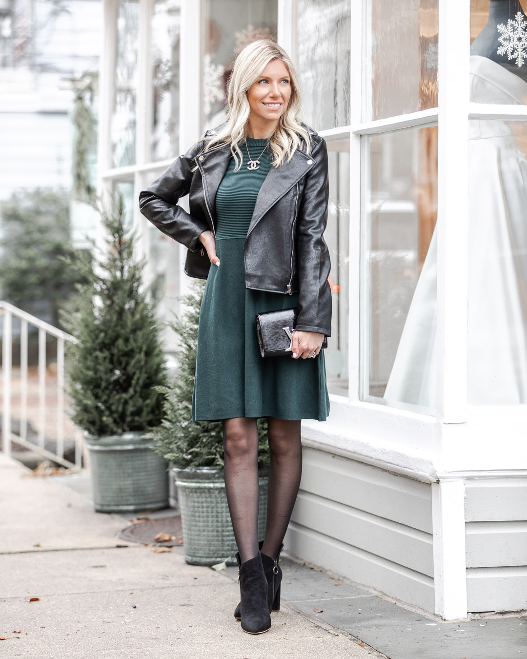 green sweater dress with leather jacket The Glamorous Gal