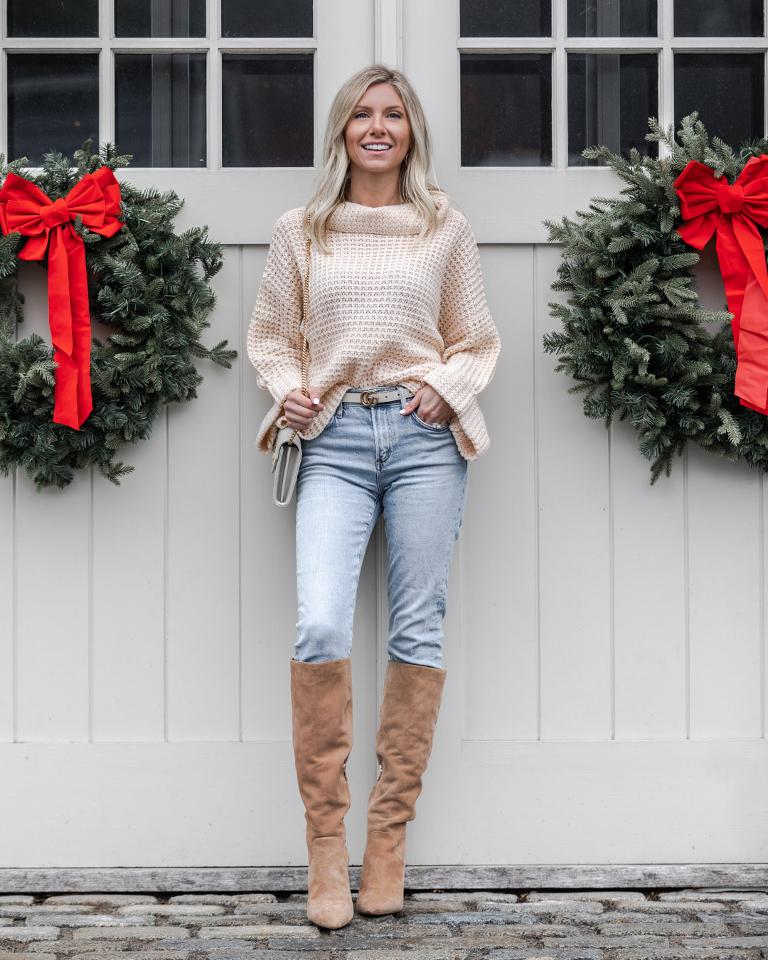 nude turtleneck sweater The Glamorous Gal