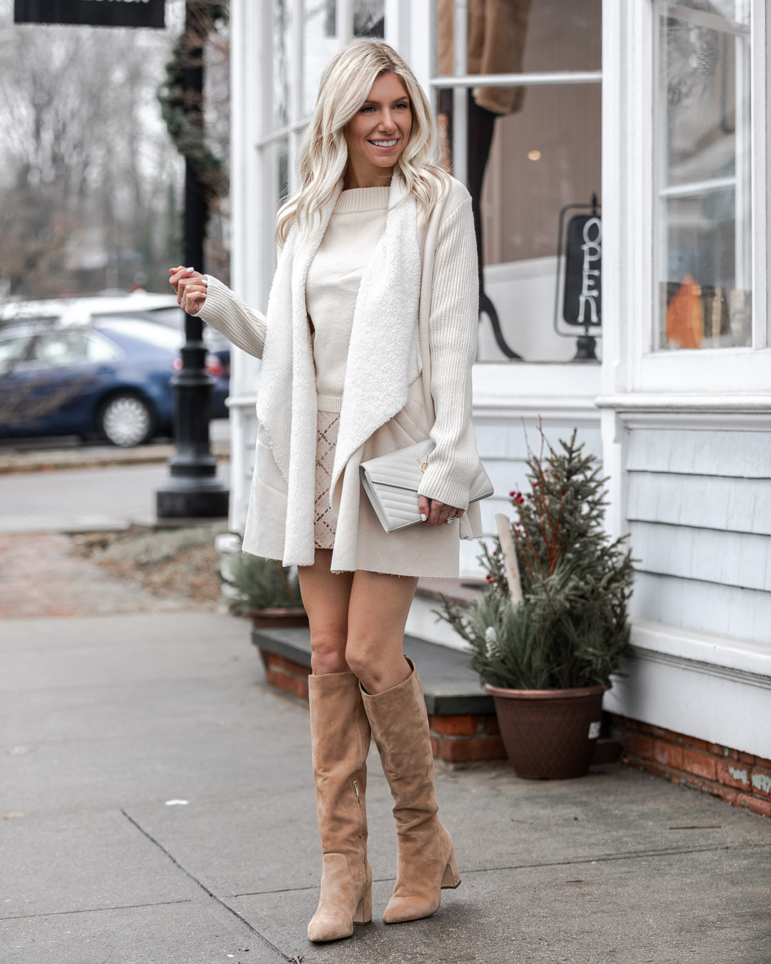white on white look for winter The Glamorous Gal