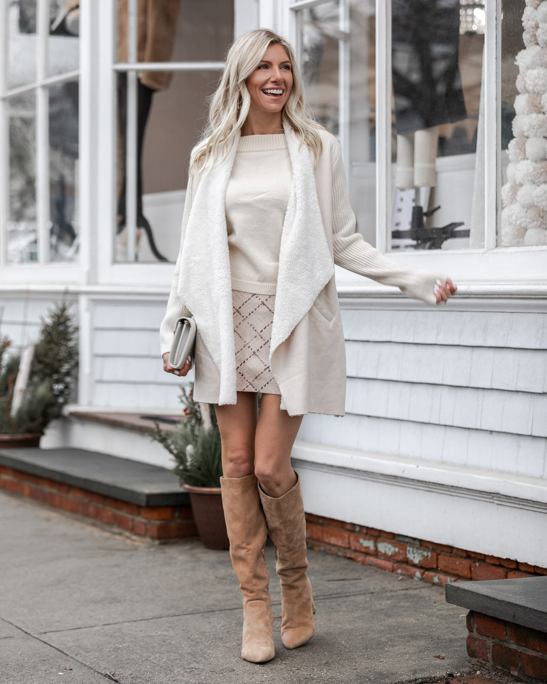 white print skirt and over the knee boots The Glamorous Gal