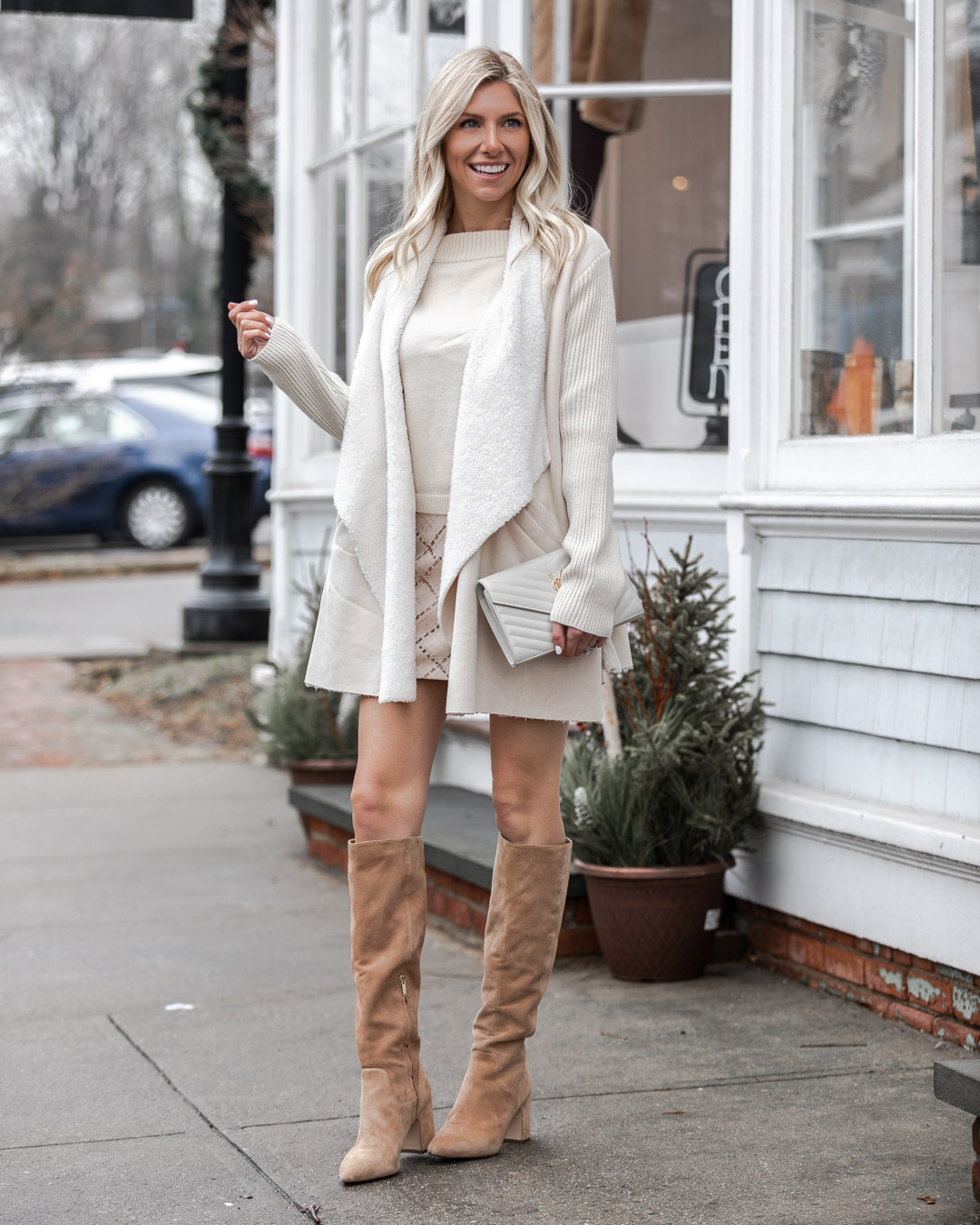 white shearling cardigan The Glamorous Gal