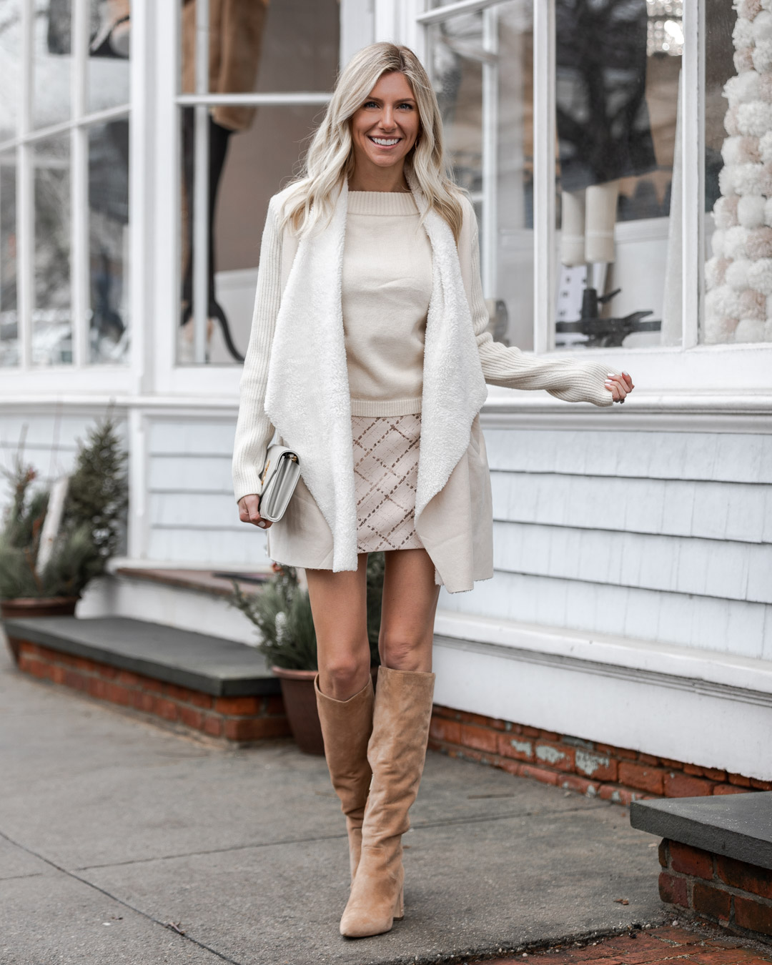 white sweater and print mini skirt for winter The Glamorous Gal