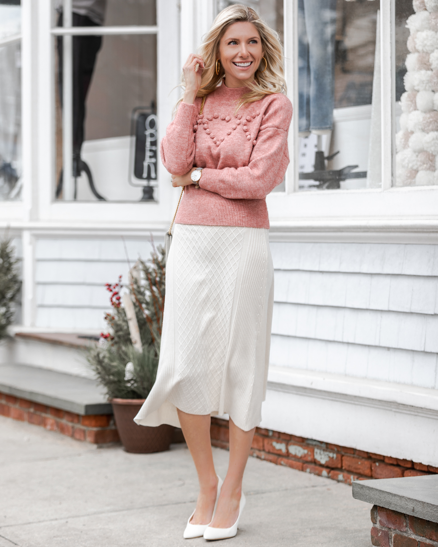 chicwish-pink-heart-sweater-and-white-knit-skirt-the-glamorous-gal