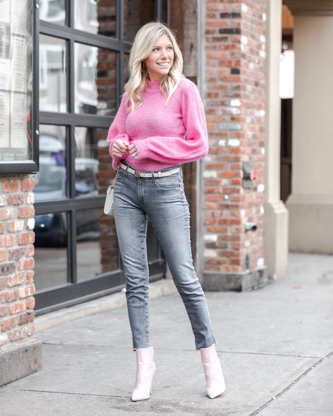pink-sweater-and-bush-booties-the-glamorous-gal