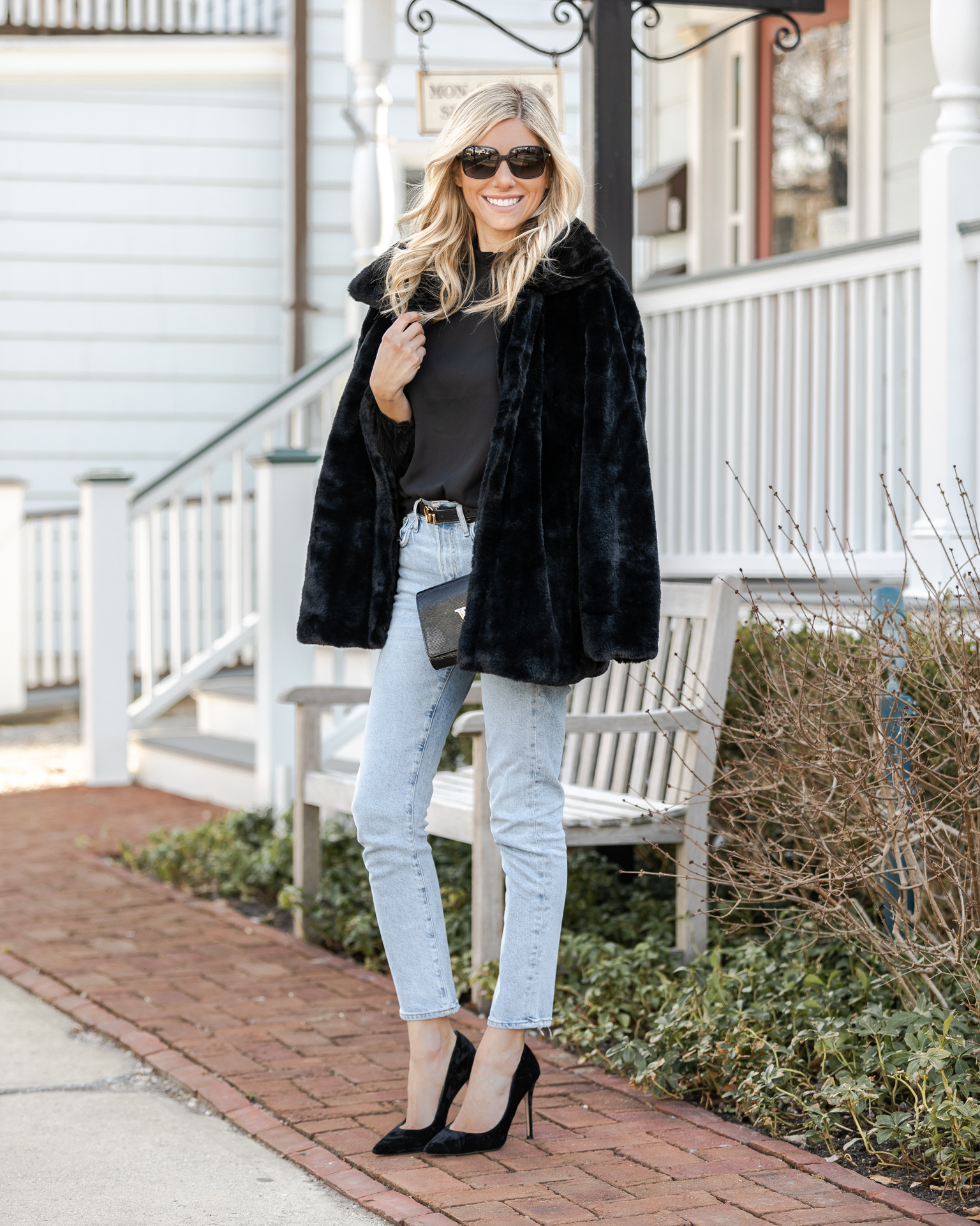 black-blouse-and-black-faux-fur-jacket-the-glamorous-gal