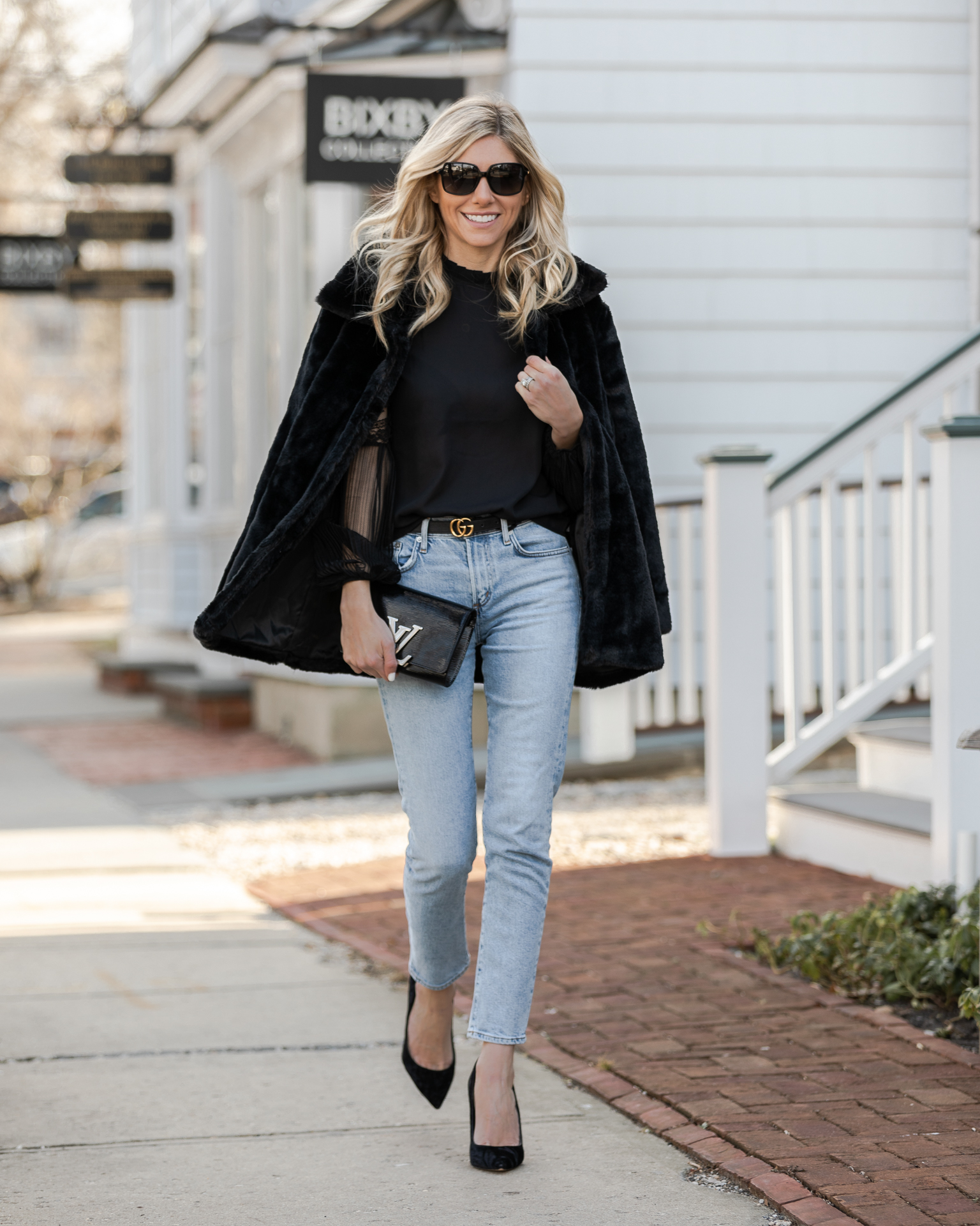 chic-black-blouse-with-lace-sleeves-the-glamorous-gal