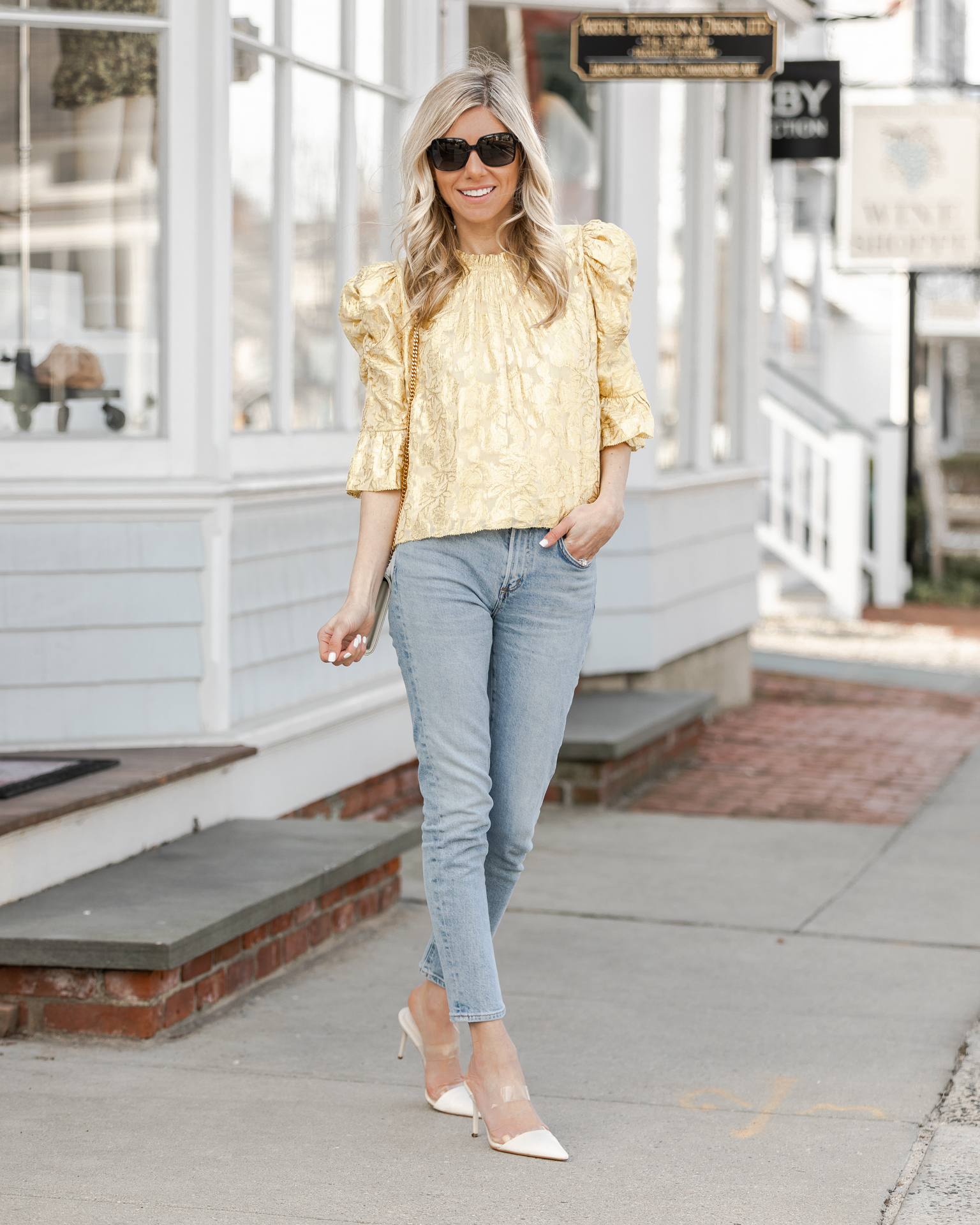 floral-metallic-puff-sleeve-top-the-glamorous-gal