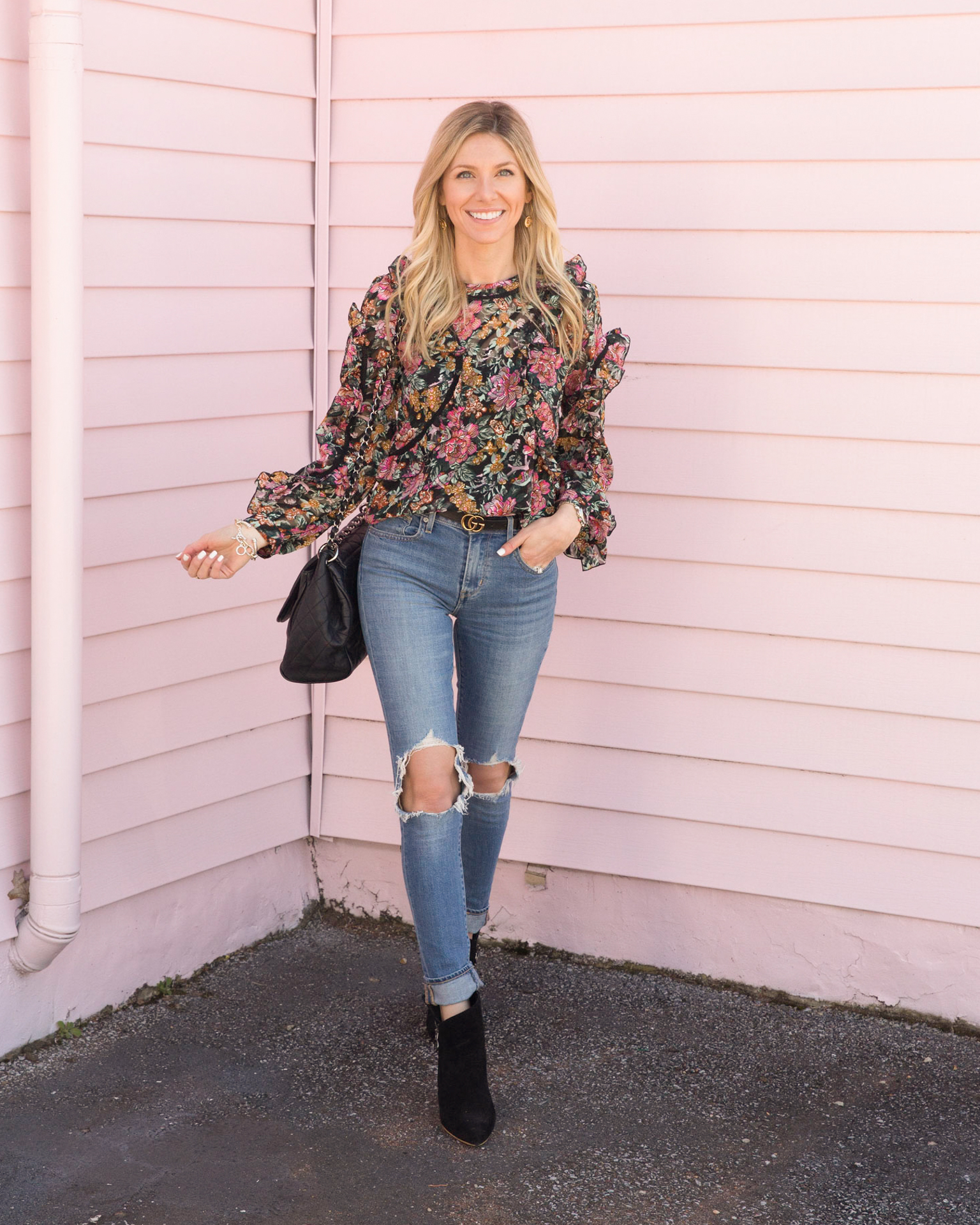 floral topshop blouse and ripped jeans