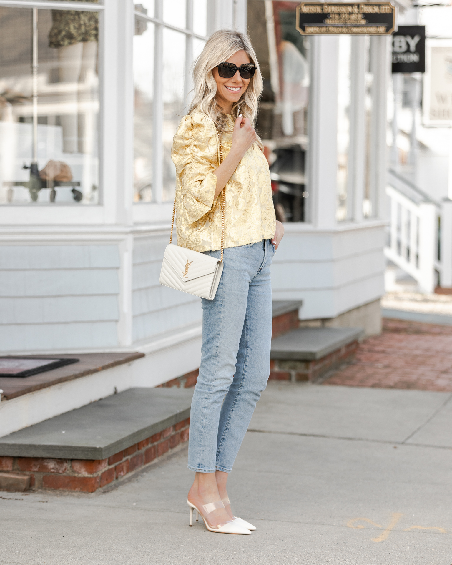 metallic-spring-top-and-jeans-the-glamorous-gal