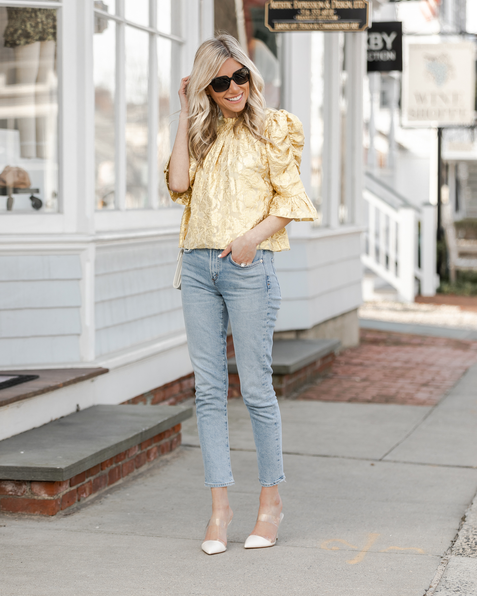 saylor-yellow-metallic-puff-sleeve-top-the-glamorous-gal