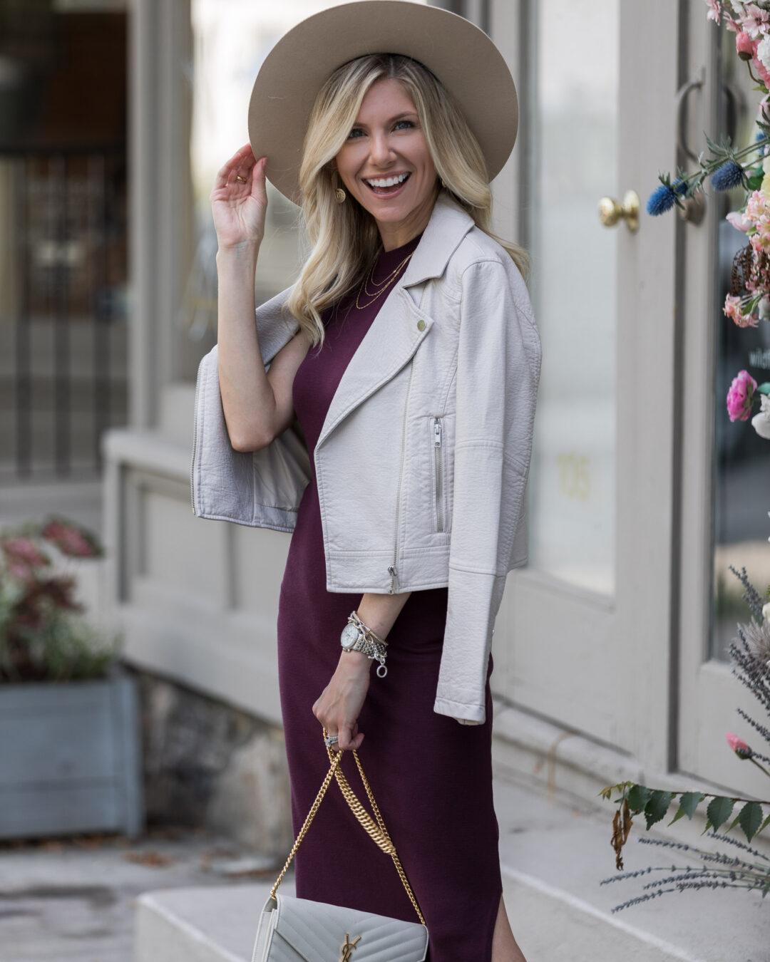 neutral-hat-and-fall-midi-dress-look-the-glamorous-gal