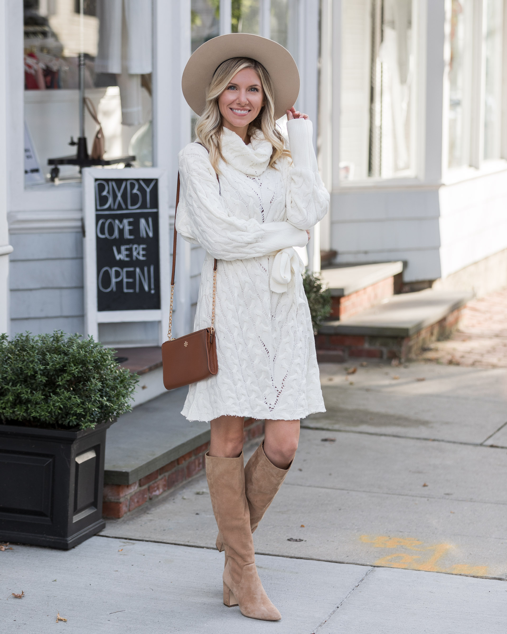 neutral-felt-hat-and-cozy-sweater-dress-the-glamorous-gal