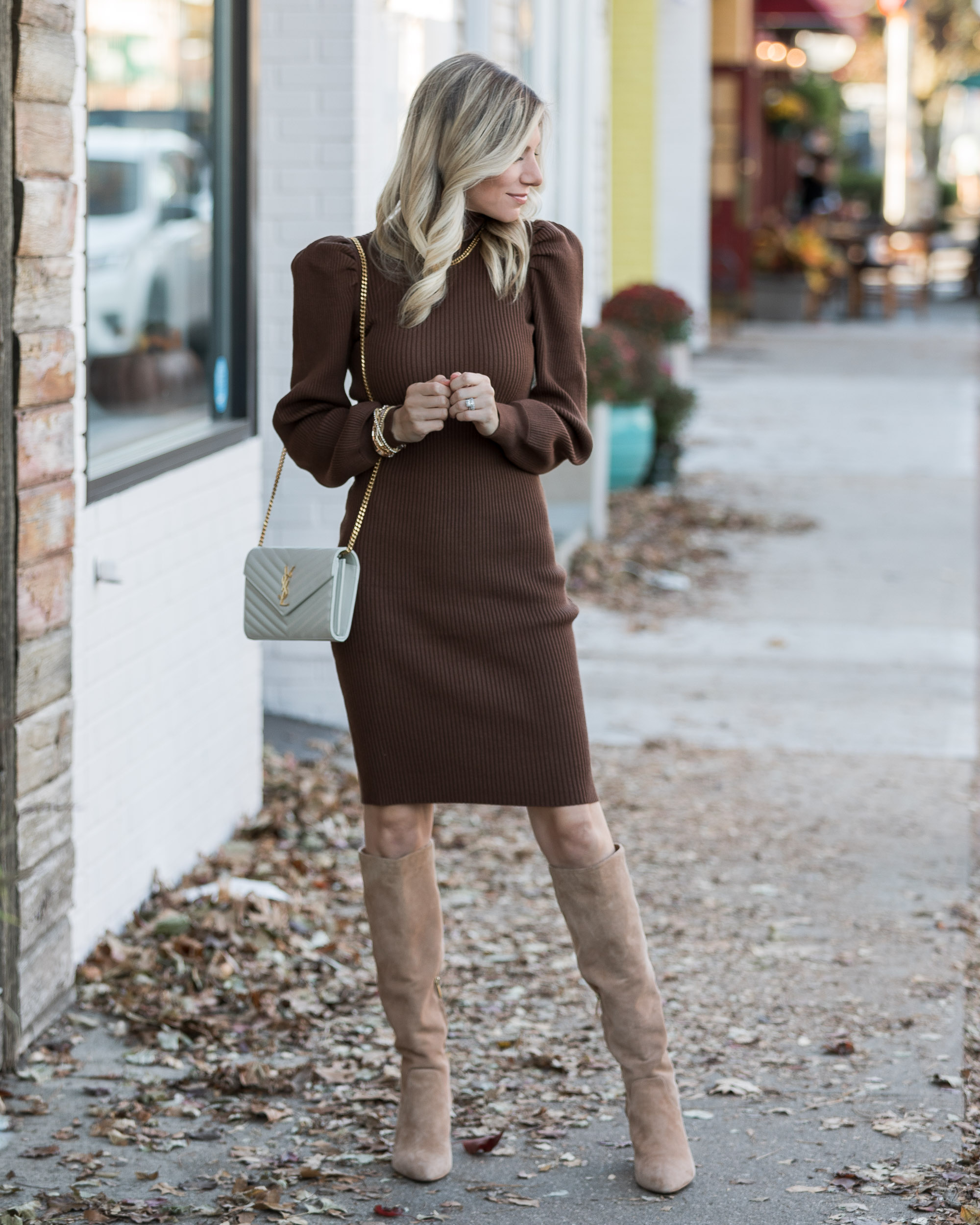 puff-sleeve-midi-sweater-dress-for-fall-the-glamorous-gal