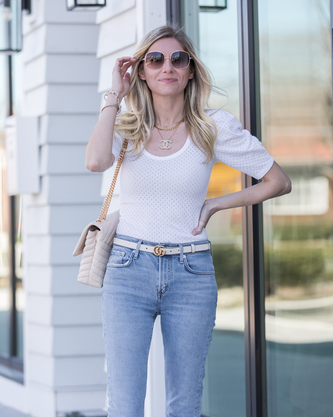 puff sleeve eyelet top for spring the glamorous gal