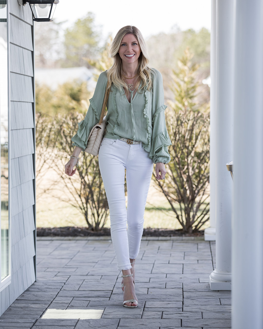 white pants and mint top for spring the glamorous gal