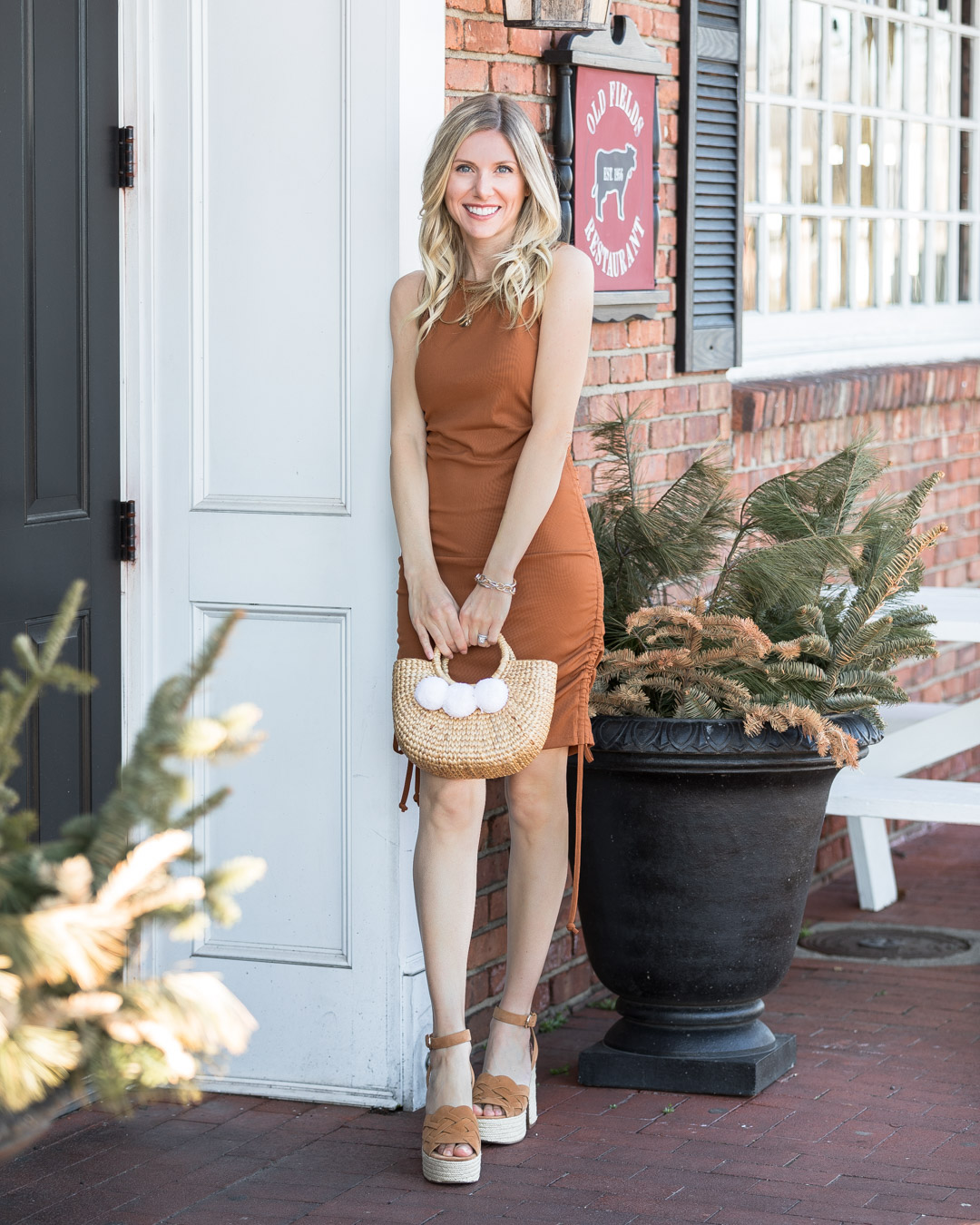 bronze dress andn mar fisher wedges the glamorous gal