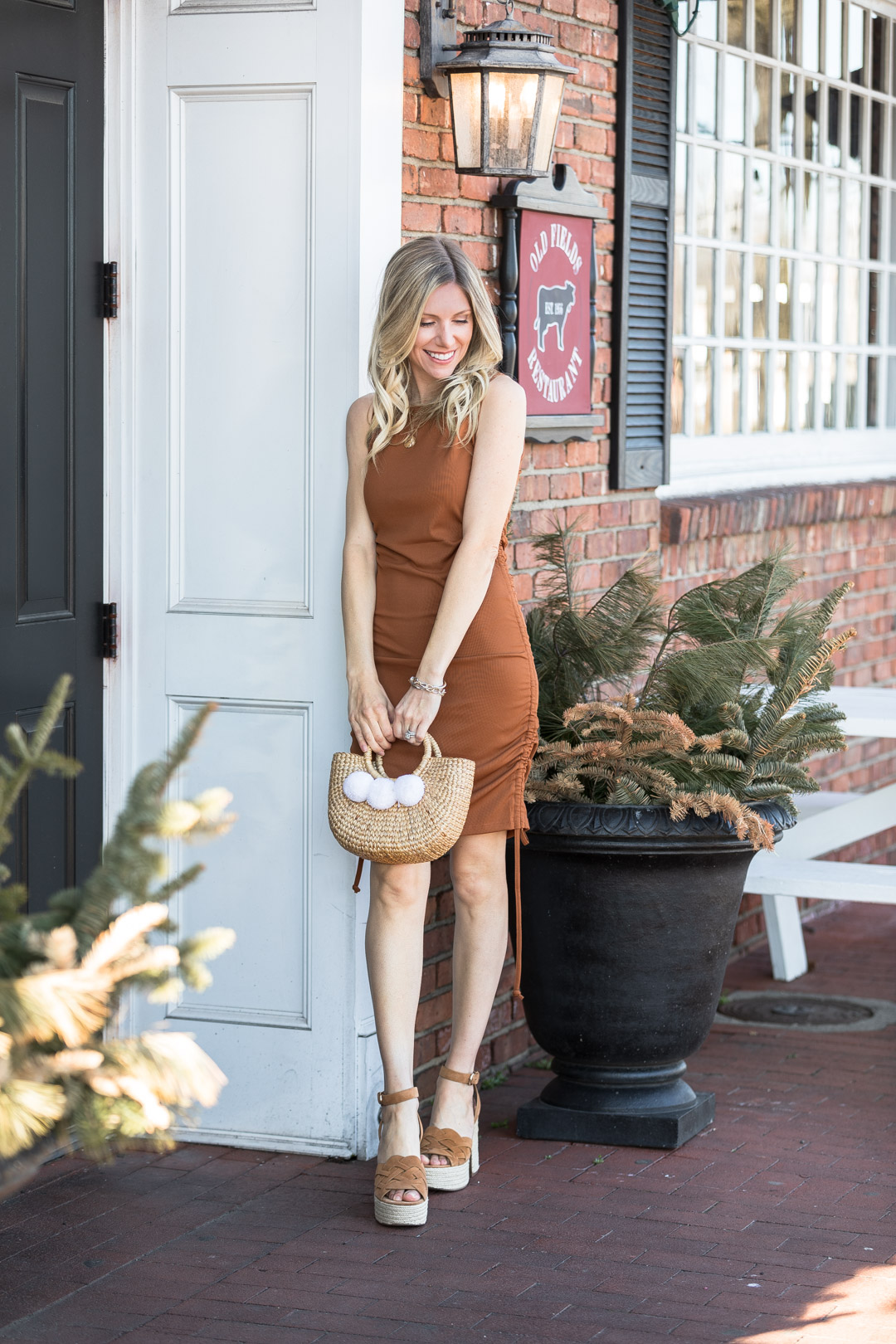 bronze dress andn marc fisher espadrilles the glamorous gal
