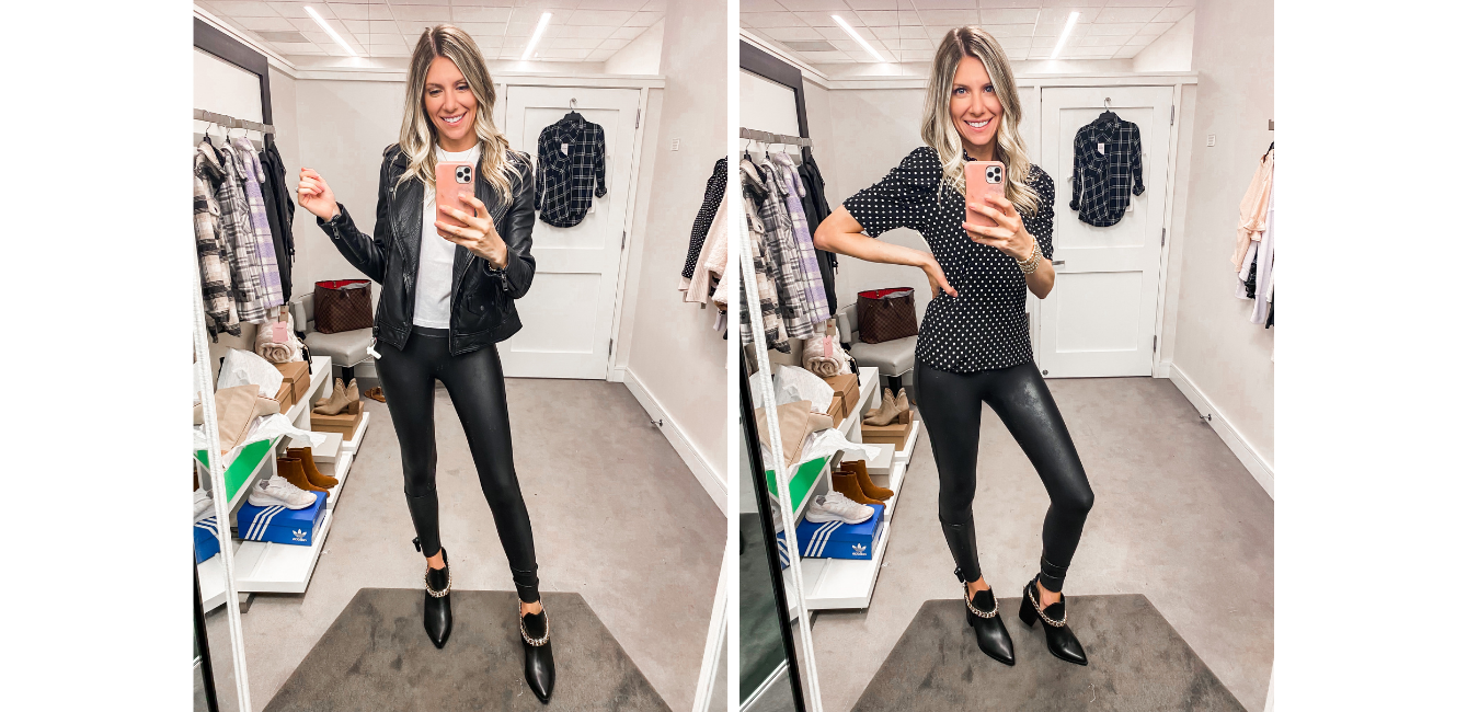faux leather leggings and jackets